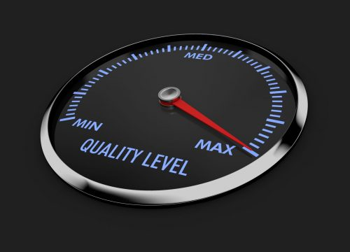 speedometer with quality level needle near the max 3d render